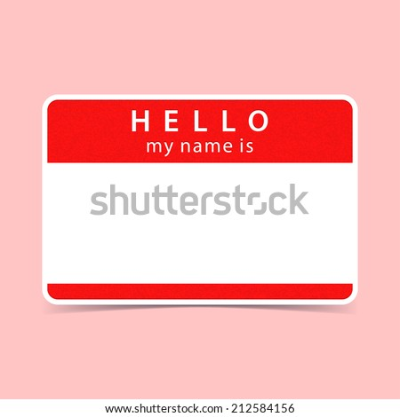 Red name tag blank sticker HELLO my name is. Rounded rectangular badge with gray drop shadow on color background. Vector illustration clip-art element for design saved in 10 eps - stock vector