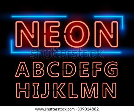 Red Neon Double Stroke Alphabet Set for Signs. Realistic vector font set first half - stock vector