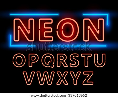Red Neon Double Stroke Alphabet Set for Signs. Realistic vector font set second half - stock vector