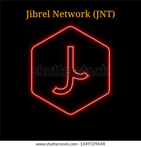 Red neon jibrel network jnt cryptocurrency stock vector 1049339648 red neon jibrel network jnt cryptocurrency symbol vector illustration eps10 isolated on black stopboris Images