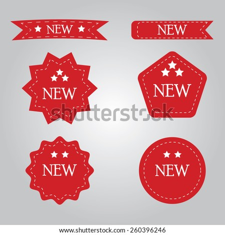 Red New Label  - stock vector