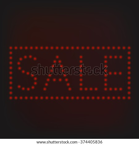 Red night neon lights sign banner. Sale