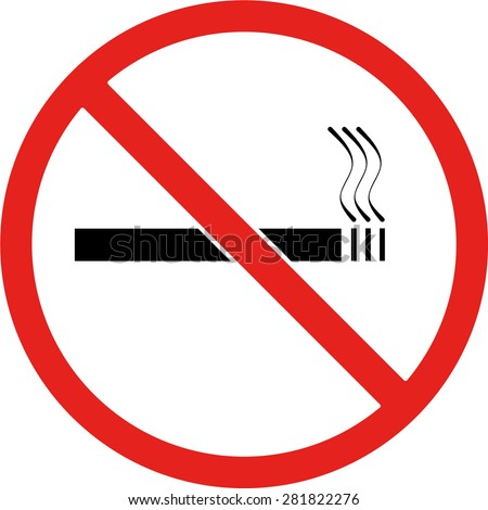 Red No smoking sign on a white background, vector illustration