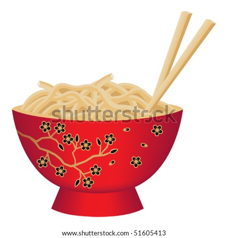 Red Noodle Bowl Decorated with Cherry Blossom Flowers and Chopsticks Vector