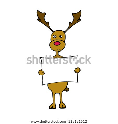 Red Nose Reindeer Holding Blank Message Board. - stock vector