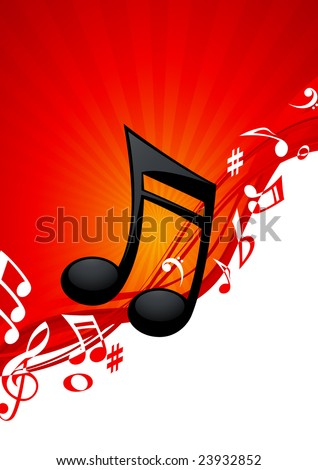 Red note music background, vector illustration, EPS file included - stock vector