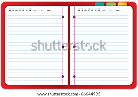 red notebook - stock vector