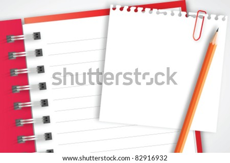 Red notebook with paper and pencil - stock vector