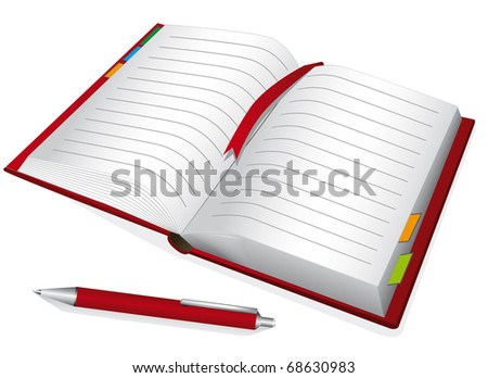 Red notebook with the bookmark. Vector illustration