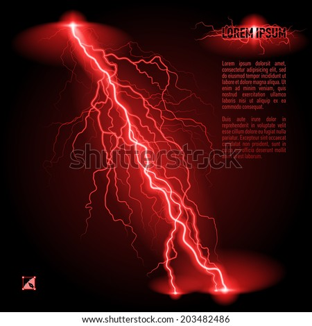 Red oblique branchy lightning line. Illustration with space for text - stock vector