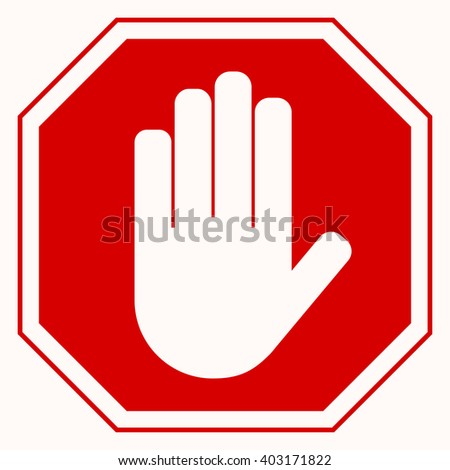 Red octagonal stop sign arm. White arm on red background. You can simply change size and color