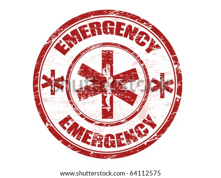 Red office rubber stamp with the emergency medical care symbol and the word emergency written inside - stock vector