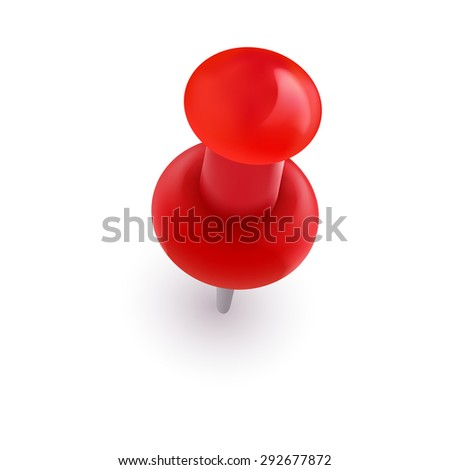 Red office vector pin on white background - stock vector