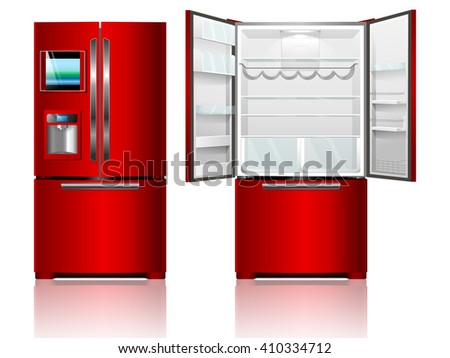 Red open and closed fridge. Vector illustration refrigerator - stock vector