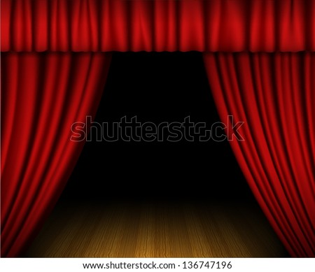 Red open curtain on wooden stage - stock vector