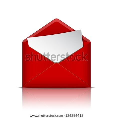 Red open envelope with paper. Vector illustration - stock vector