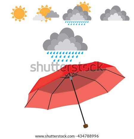 Red opened umbrella isolated on white background with weather ellements. Rain, sun, cloud, couds. vector illustration