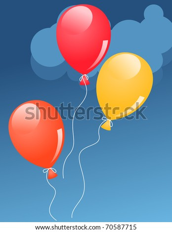 Red,orange and yellow helium baloons in sky - stock vector