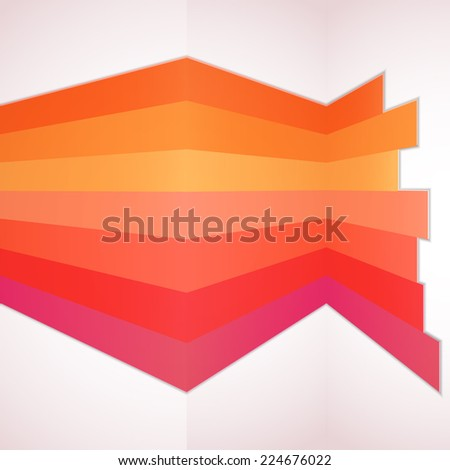 Red orange cale edition of parallel colorful stripes built 3d architectural wall mock-up. For all different media: web, infographics, brochure. Vector design. - stock vector