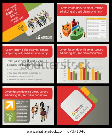 red, orange, green template for advertising brochure with business people