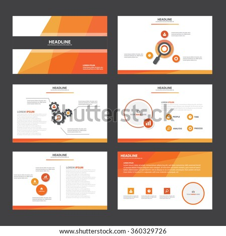 Red Orange presentation template Infographic elements flat design set for brochure flyer leaflet marketing advertising - stock vector