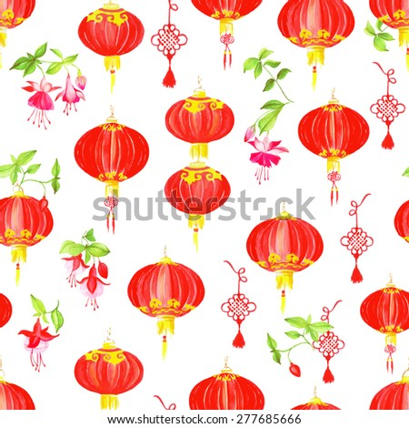 Red oriental style watercolor seamless vector pattern