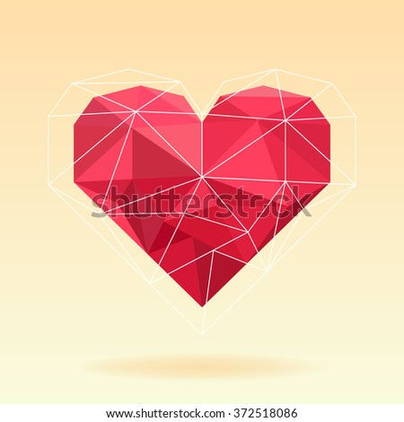 Red origami heart on background - stock vector