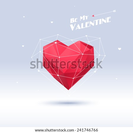 Red origami heart on white background with shadow. Vector Illustration. Abstract polygonal heart. Love symbol. Low-poly colorful style. Romantic background for Valentines day. Eps 10 - stock vector