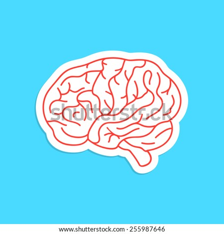 red outline brain icon sticker. concept of thinking, artwork, success, brainstorming, nervous, psychology, cerebral. isolated on blue background. flat style modern logotype design vector illustration - stock vector