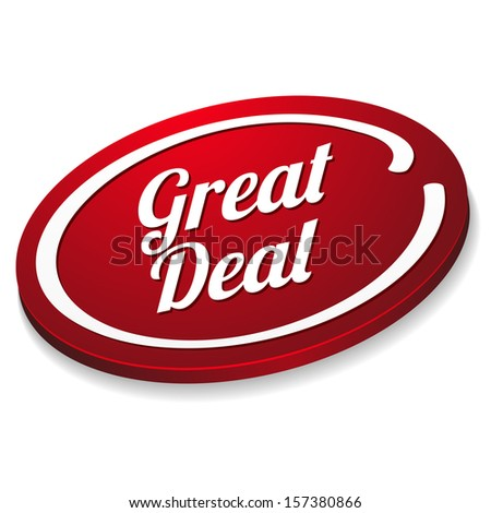 Red oval great deal button - stock vector