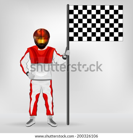 red overall standing racer holding checked flag vector illustration - stock vector