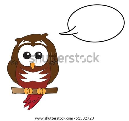 Red owl speaking - stock vector