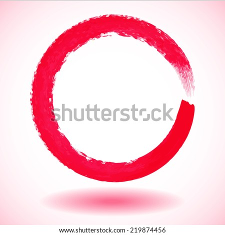 Red paintbrush circle vector frame