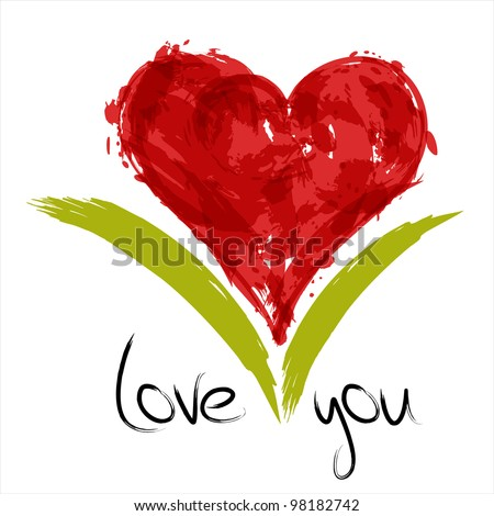 Red painted heart with inscription love you. EPS10 - stock vector