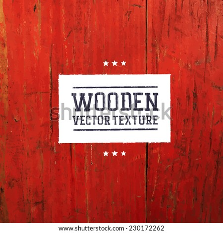 Red painted wooden traced texture - stock vector