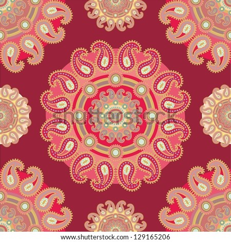 red paisley pattern - stock vector