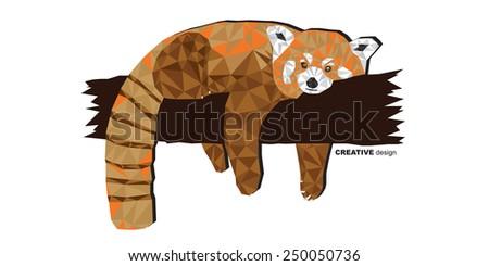 Red panda creative vector design - stock vector