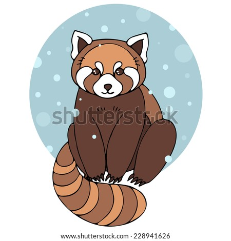 Red panda in winter. Vector illustration with cute red panda and snow. - stock vector