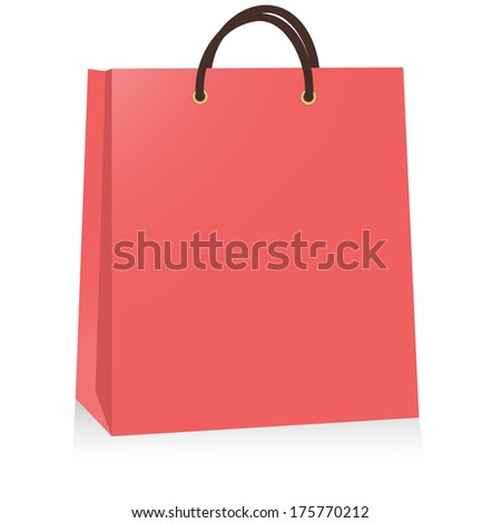 red paper bag, vector illustration