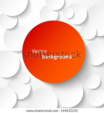 Red paper circle banner with drop shadows on white abstract background. Vector illustration - stock vector