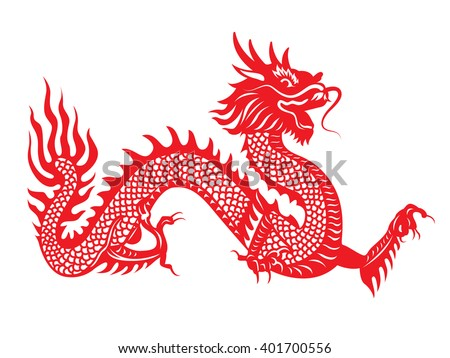 Traditional chinese dragon papercut art stock illustration for Chinese paper cutting templates dragon