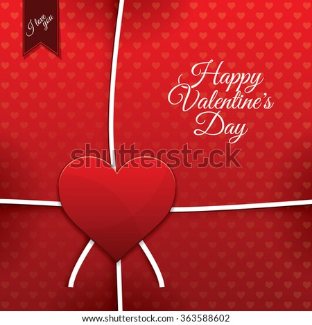 Red paper heart Valentines day card with sign on heart background - stock vector