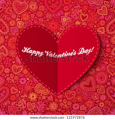 Red paper heart Valentines day card with sign on ornate background - stock vector