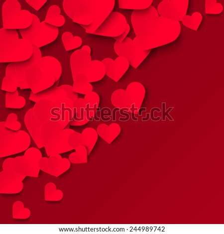 Red paper hearts on red background, Valentine vector illustration