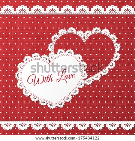 Red paper hearts Valentines day card on red background - stock vector