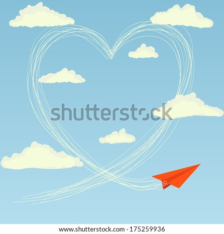 Red paper plane flying in the sky and drawing a heart. Valentines day greeting card - stock vector