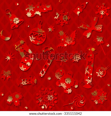Red paper silhouettes of Christmas decorations with gold snowflakes on dark red background. Christmas seamless pattern. Vector illustration - stock vector