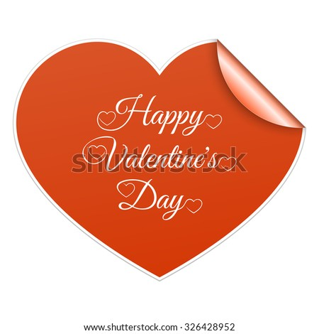 Red paper sticker heart Valentines day card with sign on it. Vector - stock vector