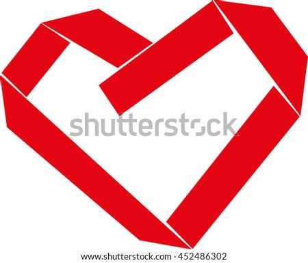 Red Paper Strip Folded as Heart Sign on white background. Vector illustration - stock vector