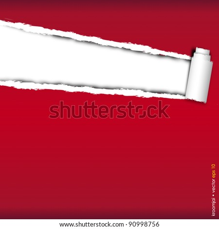 RED Paper torn vector format, background for your design - stock vector
